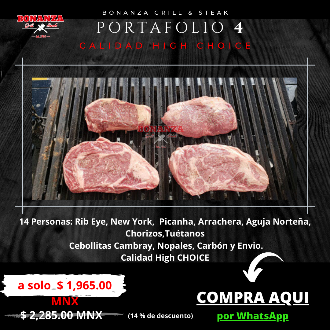 Promoción de Portafolio 4 - Carnicería Tienda Boutique de cortes Bonanza Grill & Steak
